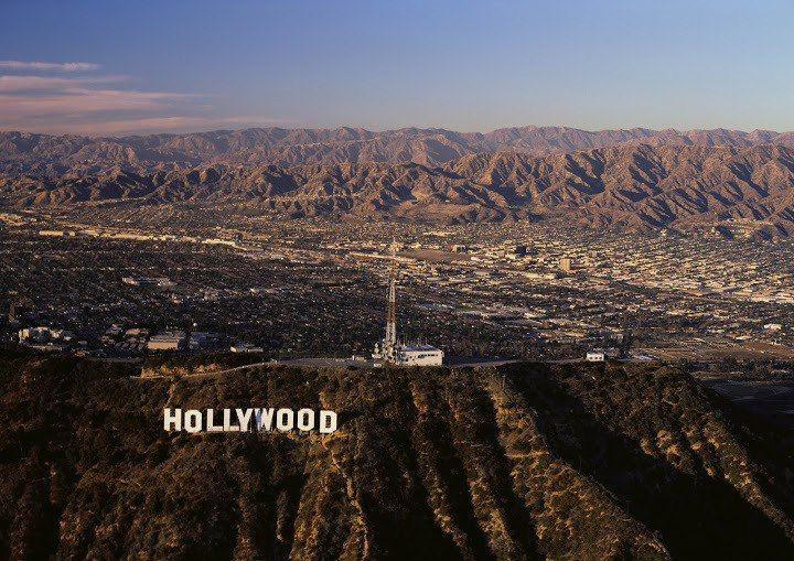 Hollywood Sign with the San Fernando Valley. See the valley in the background