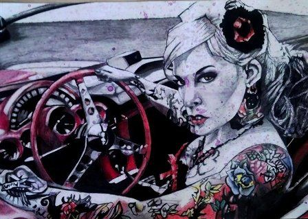 Pencil, Pastel, Charcoal, Graphite and Ink Drawing, I do not have my own tattoos but I love the art of Tattoo.