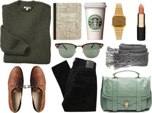traveling outfit- I love how the starbucks cup is posted, like its an accessory as well. LoL.