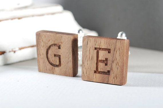 INITIALS cuflinks personalized ready to give gift by MoodForWood