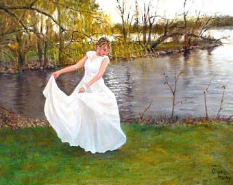 "Giclee , fine art oil painting print, girl, bride, dancing, willow, landscape, Olga Harhaj, title ""Dancing under the willow"""