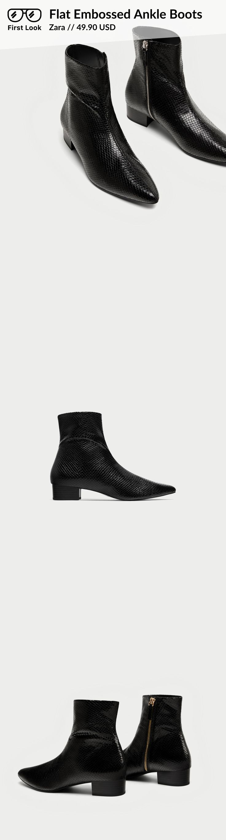 Flat Embossed Ankle Boots // 49.90 USD // Zara // Flat, black ankle boots with animal embossing. Featuring side zip fastening and pointed toes. Heel height of 2,7 cm. / 1.0″