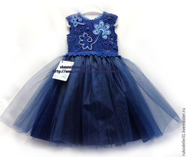 Купить Платье и повязка вязаное крючком для девочки Синий сапфир - платье ирландское кружево