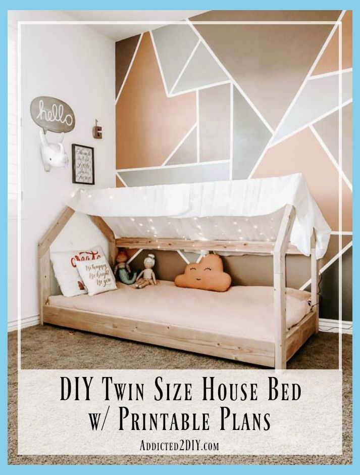 How To Build A Twin Size House Bed Diy Bed Frame For Kids Diy Bed Frames Diy Bed Frame House Beds For Kids Toddler House Bed Diy Bed Frame Toddler bed with twin mattress