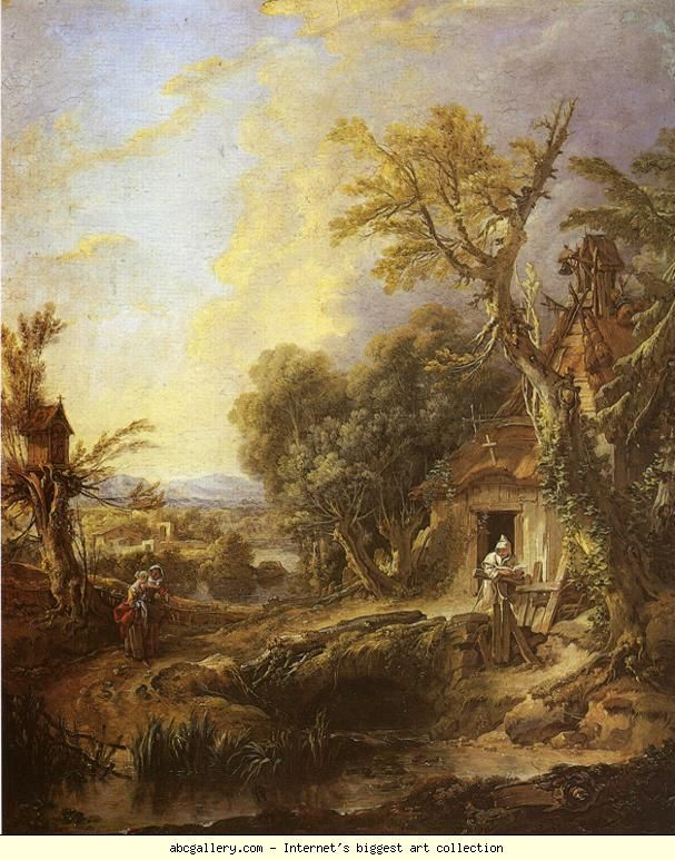 François Boucher. Landscape with a Hermit. Olga's Gallery.