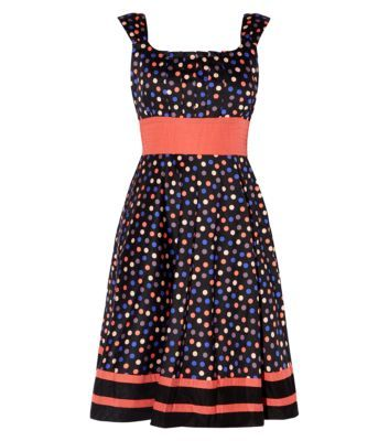 New Look - Mandi Black Polka Dot Stripe Hem Skater Dress