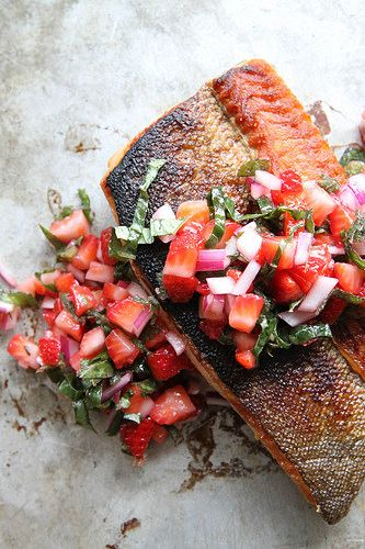 Crispy Salmon with Strawberry Basil Salsa by Heather Christo