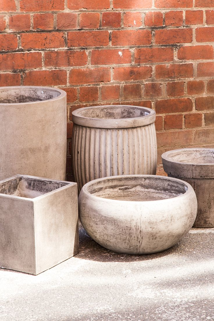 Bali Round Planter, Barrel Ribbed Planter, Classico Lipped Planter, Cubo Square Planter & Lido Bowl // Indoor & Outdoors Concrete Planters available at Schots Melbourne, Australia