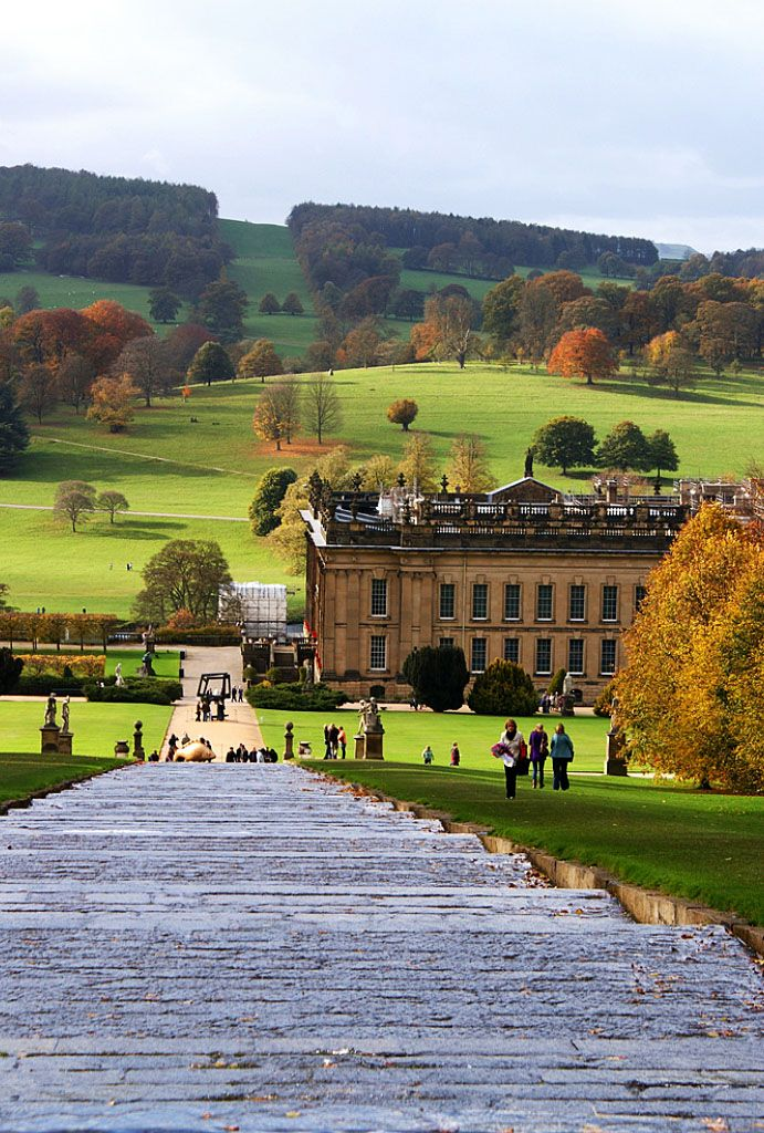 The view down the waterfall stairway feature to Chatsworth House in…