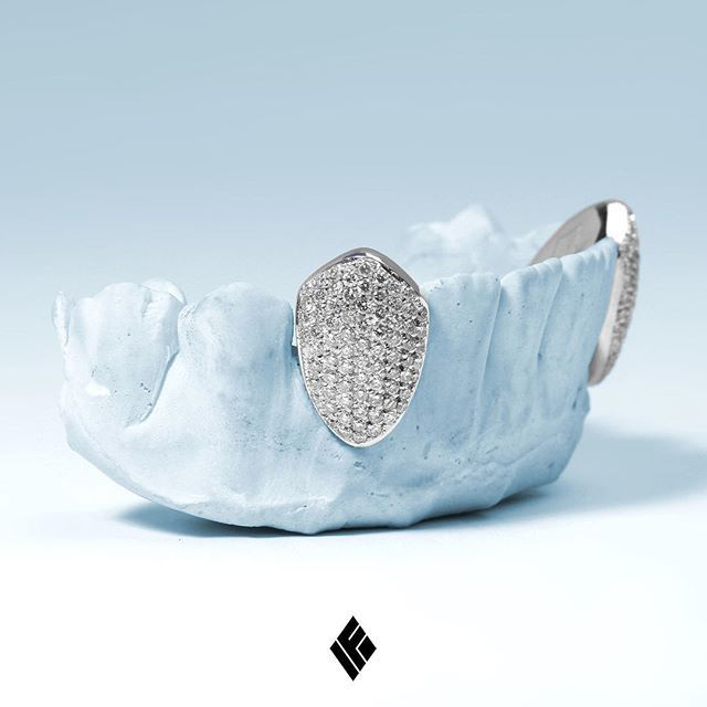 Custom Solid 14K White Gold Fang Cap Set Fully Iced with White Diamonds. Specially made for Kenyon  #Grillz #CustomJewelry #IFANDCO
