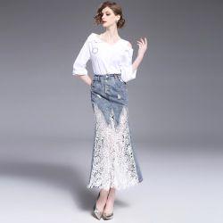 2017 Spring Fishtail Lace Denim Bandage Skirt Jurken Embroidery Sexy Club Crochet Lace skirts