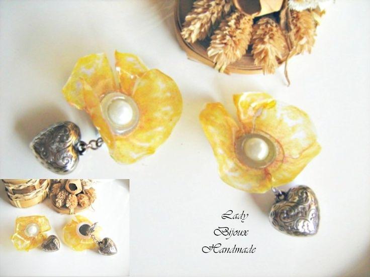 Orecchini a clip con fiore Papavero giallo fatto in Sospeso Trasparente con cuori pendenti bijoux regalo, by Lady Bijoux Handmade, 10,00 € su misshobby.com