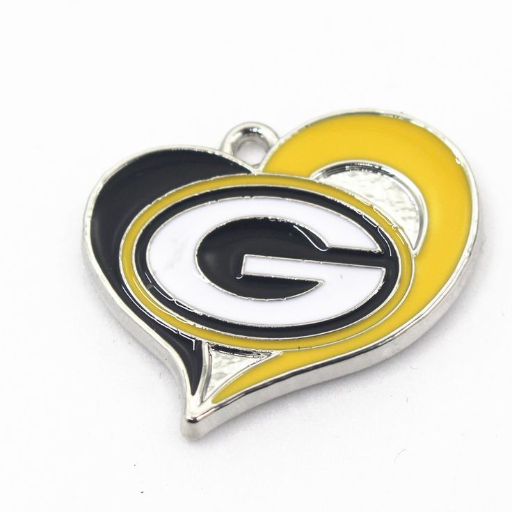 20pcs/lot Heart NFL Green Bay Packers USA Football Teams Sports Pendant Dangle Charms For Bracelet Necklace DIY Jewelry