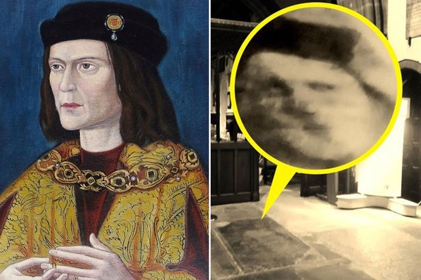 King Richard III's 'ghost' caught on camera peering up from paving slabs at Leicester Cathedral