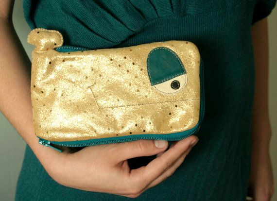 Golden Polka Whale glamorous leather wallet gold by ritaboth121, $36.00