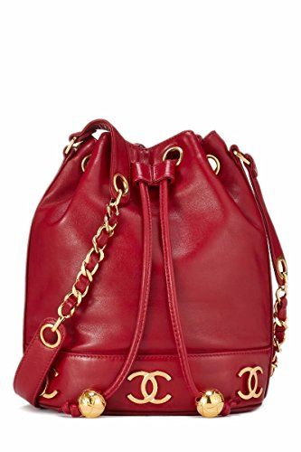 b1bad2449804 SALE PRICE - $3200 - CHANEL Red Lambskin Triple 'CC' Bucket Bag Small (Pre- Owned)