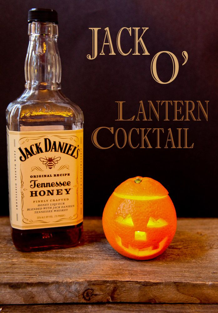 """Jack"" O' Lantern Halloween Cocktail 3 ounces Jack Daniel's Tennesee Honey Whiskey 2 ounces freshly squeezed orange juice 1/2 ounce cherry liqueur splash grenadine crushed ice orange peel, for garnish Add Jack Daniel's Tennessee Honey, orange juice, cherry liqueur and grenadine into a highball glass filled with crushed ice. Garnish with orange peel."