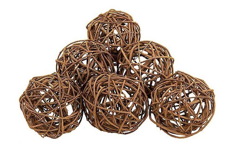 Natural Deco Balls - Set of 6 Media Image 1