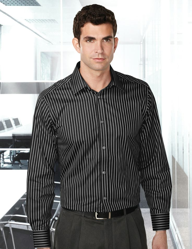 Mens 100% Cotton Y/D L/S Stripe Woven Shirt.