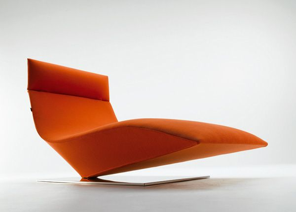 MDF Italia - Chaise Longue Lofty | Design: Piergiorgio Cazzaniga | Anno: 2005 | Materiali: Tessuto | #design #orange | http://divani.webmobili.it/