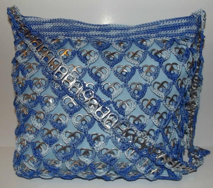 Varigated Blue Upcycled Pop Tab Purse Crocheted Handmade. $45.00, via Etsy.