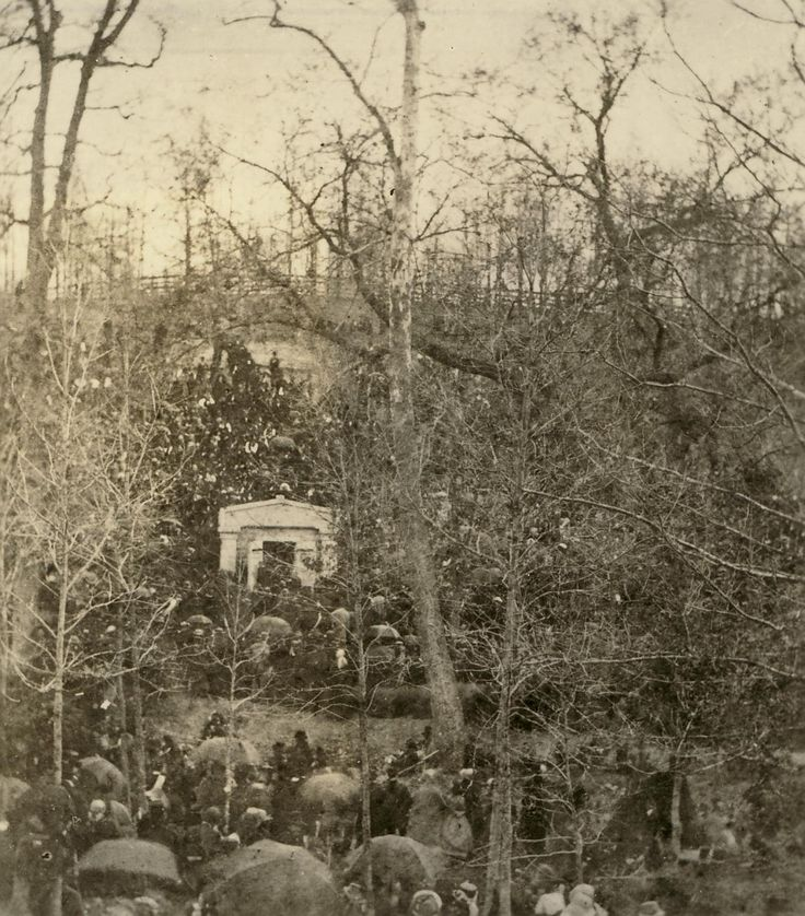 Photograph taken during President Abraham Lincoln's funeral when his casket was temporarily placed in the receiving vault of Oak Ridge Cemetery in Springfield, Illinois, May 4, 1865.