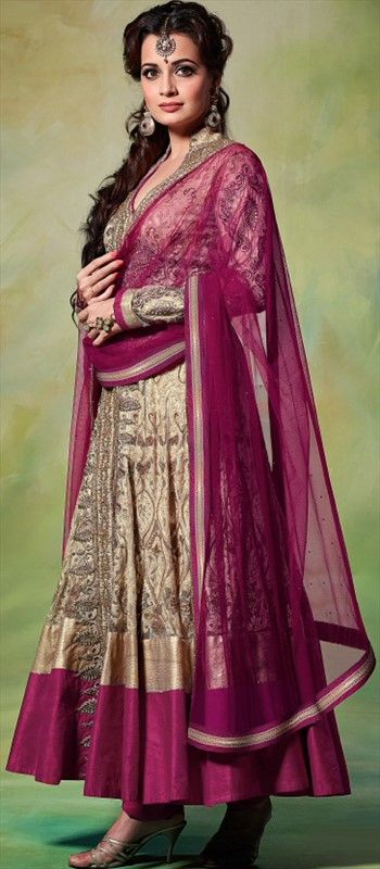 423664, Anarkali Suits, Bollywood Salwar Kameez, Net, Machine Embroidery, Sequence, Resham, Patch, Zari, Border, Lace, Gold, Beige and Brown Color Family