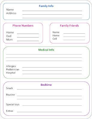 50 best Babysitter images on Pinterest Babysitter printable - babysitting information sheets