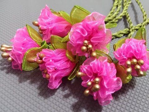 kurdele oyaları pembe gül çiçeği yapımı - YouTube