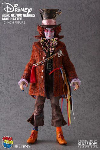 Johnny Depp Figure from Alice In Wonderland. It is made by Medicom and is 1:6 scale (approx. 30cm / 11.8in high).  http://film-tv.minimodelfilmstuff.co.uk/film-tv-collectable/alice-in-wonderland-mad-hatter-johnny-depp-figure-medicom-900574 Sideshow is proud to present the Mad Hatter RAH 12-inch Figure by Medicom Toy, celebrating the upcoming Tim Burton film 'Alice in Wonderland'. Featuring the authentic likeness of Johnny Depp as the Mad Hatter, this outstanding 1:6 scale figur...