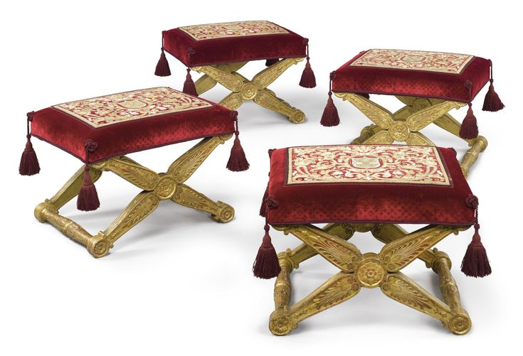 PROPERTY OF AN AMERICAN PRIVATE COLLECTOR A SET OF FOUR EMPIRE GILTWOOD PLIANTS EARLY 19TH CENTURY, ONE STAMPED JACOB D. R. MESLEE Estimate  100,000 — 150,000   USD