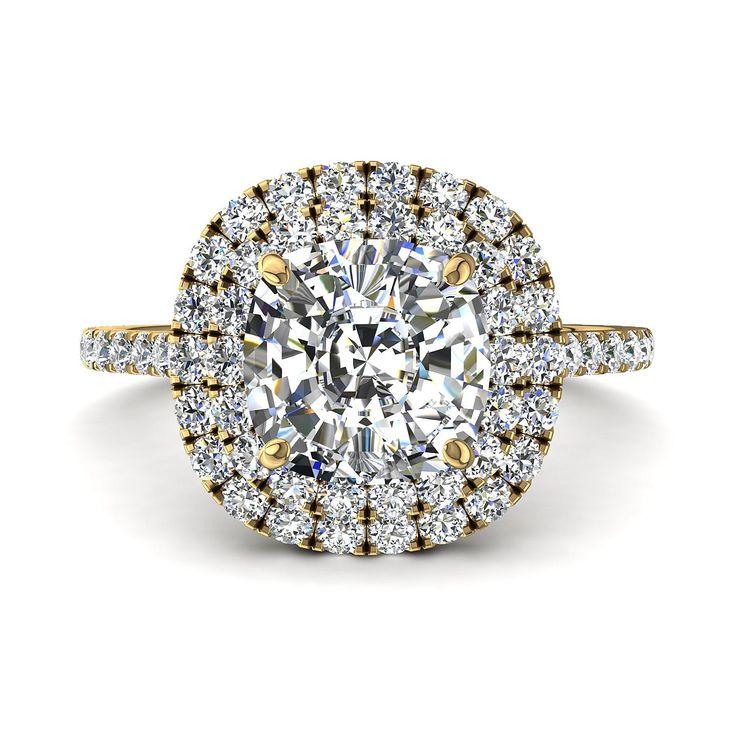 Bague de fiançailles diamant, solitaire diamant de 1,70 carats or jaune Antoinette-coussin  Antoinette coussin est une très belle bague de fiançailles diamant coussin or jaune. Cette bague de fiançailles diamant or jaune est sertie d'une pierre centrale diamant coussin de 1 carat. Fabriquée dans nos ateliers, cette bague de fiançailles diamant coussin est disponible en or blanc, jaune, rose ou palladie 18 carats. Nous vous offrons la possibilité de choisir la qualité du diamant . Nos bagues…
