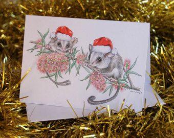 Australian Christmas Card with Feathertail Gliders, santa hats, couple, bottle brush flowers, tree, wildlife Australia cute animals,