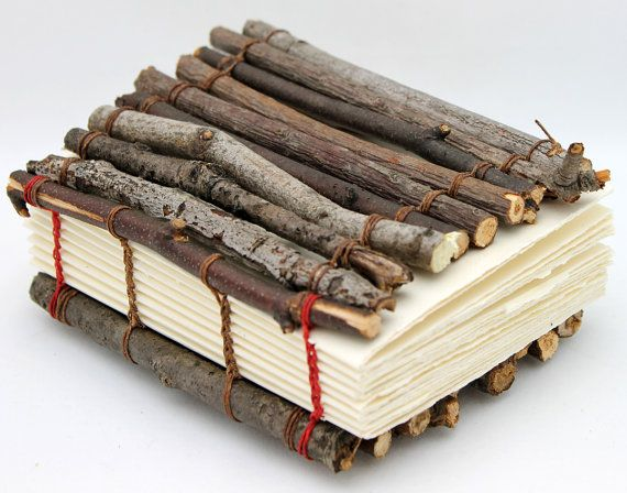 Great Gift for Guys! One of a Kind Handmade Book Made with Branches by camispaperie