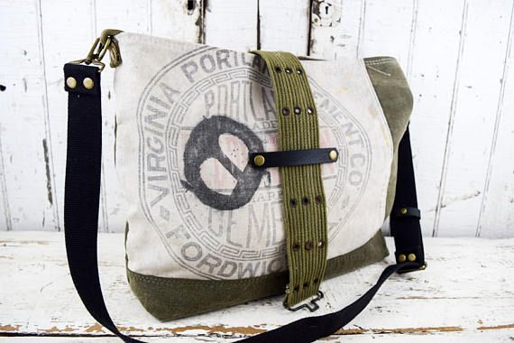 VINTAGE Repurposed Tote Bag Portland Cement Co with Military