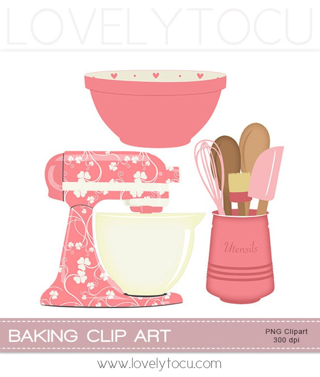 Kitchen Baking clipart set mixer, utensils and bowl digital PNG clip art (219). via Etsy.