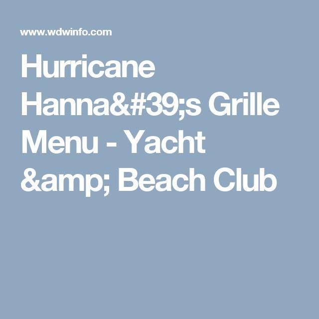 Hurricane Hanna's Grille Menu - Yacht & Beach Club