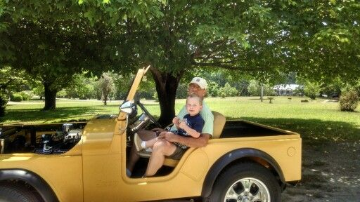 Guy loves his Papa Randy and his hotrod Jeep!