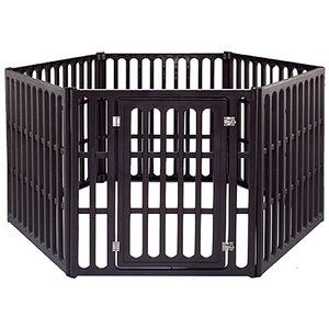 perfect pet pen for a dog matches my house decor