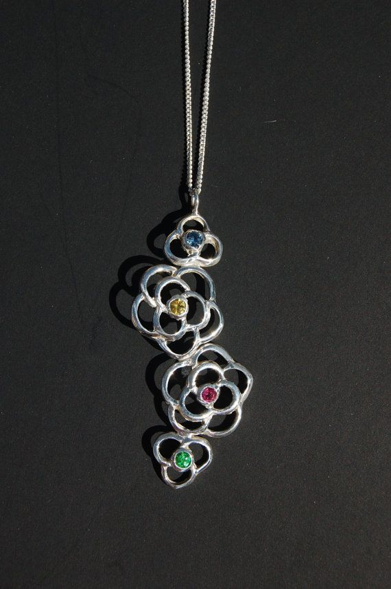 Sterling Silver rose pendant with genuine blue by JewelrybySaveria, $90.00