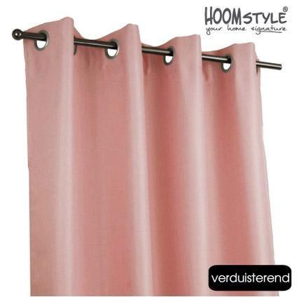 HOOMstyle kant & klaar gordijnen 2 stuks verduisterend ringen roze 140 x 270cm   Praxis