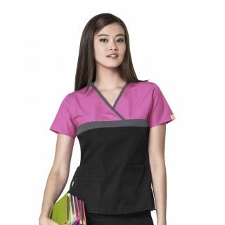 6026CA WonderWink Tri Charlie Scrubs Top on Model - New available colour Peoni Pewter and Black. We predict this colour combination being really popular