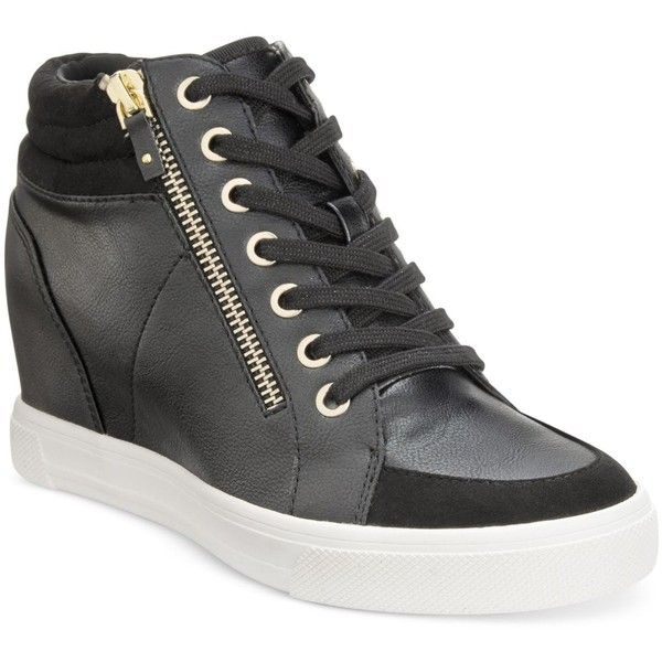 Aldo Women's Ottani Wedge Sneakers ($85) ❤ liked on Polyvore featuring shoes, sneakers, black, black trainers, aldo, wedge trainers, black wedge sneakers and black shoes