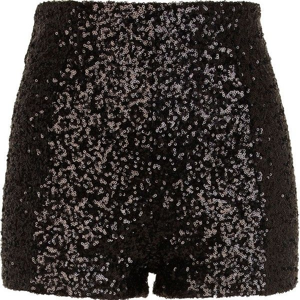 River Island Black sequin shorts (€18) ❤ liked on Polyvore featuring shorts,