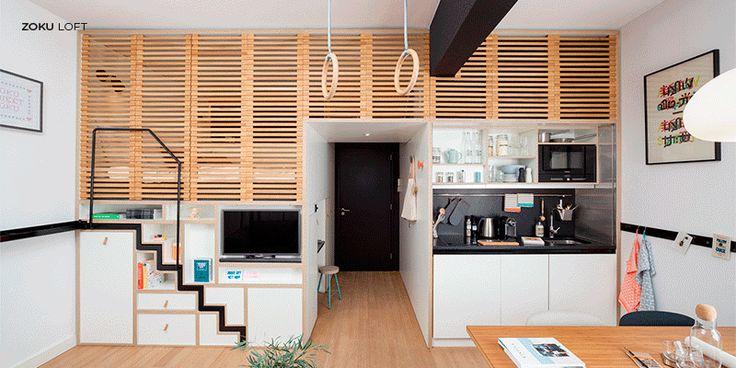 aménagement appartement studio design avec beaucoup de rangement