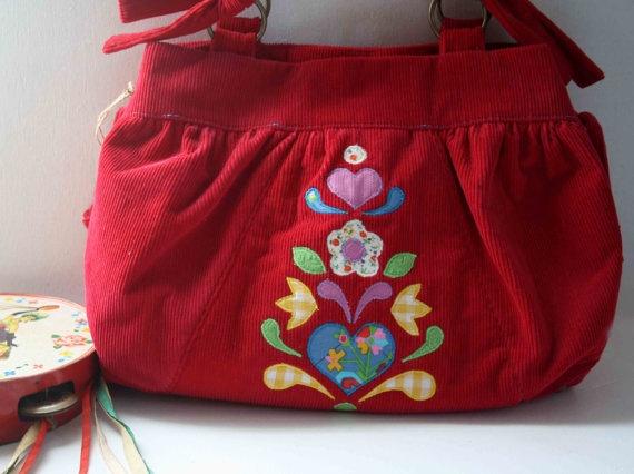 Gypsy red folk bag by ObeliaDesign on Etsy, $250.00