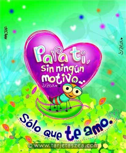 Hormiga Lalo cargando un corazón con mensaje © ZEA www.tarjetaszea.com
