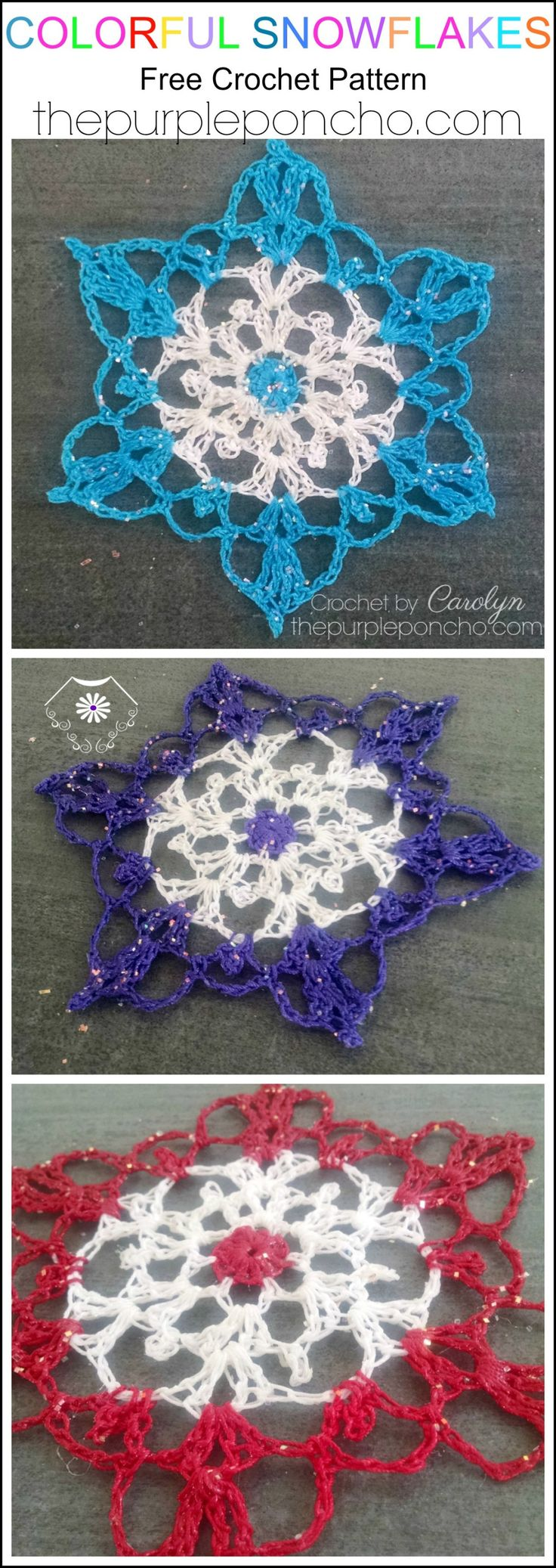 One of my favorite things to make at Christmas are crocheted snowflakes. I've made these a little different this year by adding bright, fun colors to them. They make great gifts a…