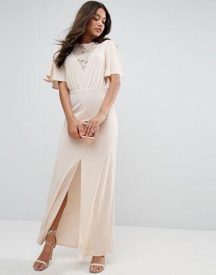 ASOS Kimono Sleeve with Lace Insert Maxi Dress