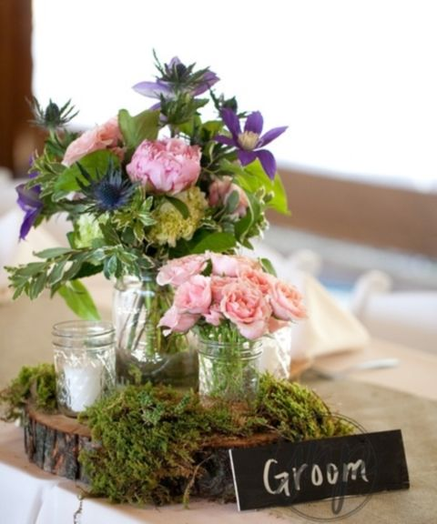 64 best reception table centerpieces images on pinterest 58 inspiring and natural woodland wedding centerpieces junglespirit Choice Image